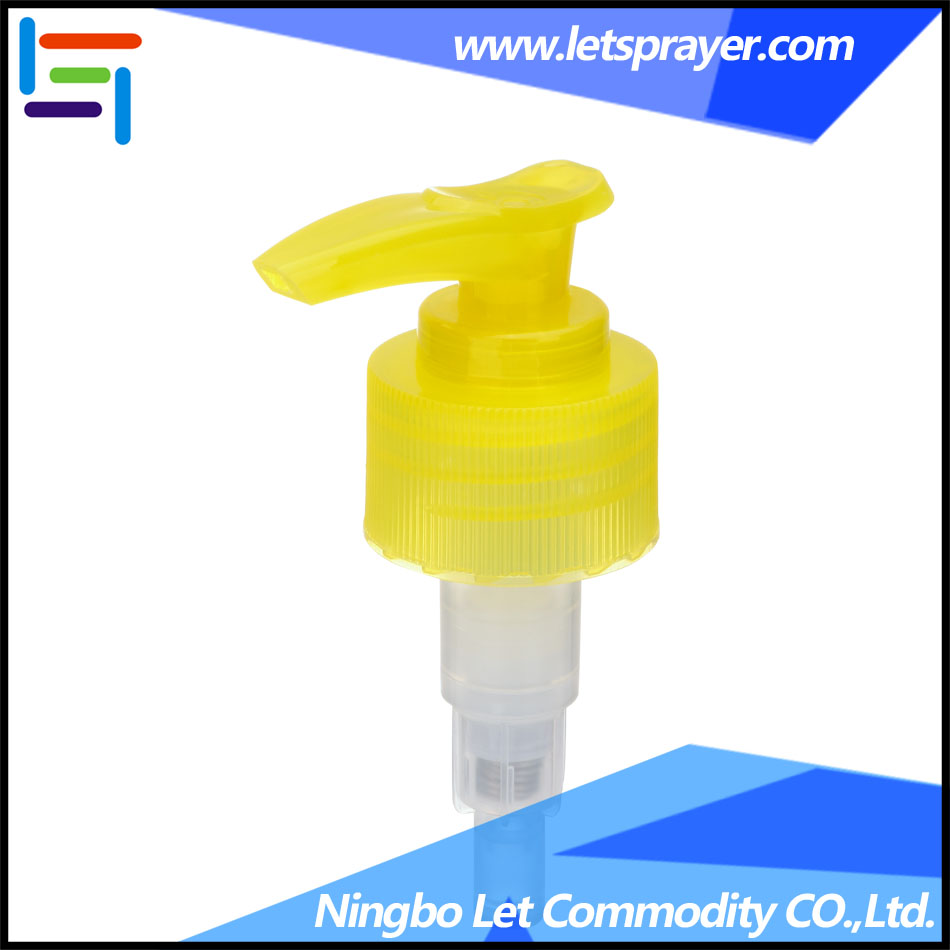 Yellow Cosmetic Plastic Screw Dispenser Shampoo Pump LP-07